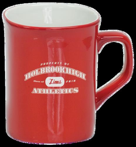 Red Rounded Corner Ceramic Mug