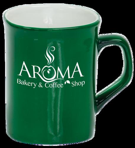 Green Rounded Corner Ceramic Mug