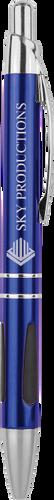 Gloss Blue Ballpoint Pen with Gripper