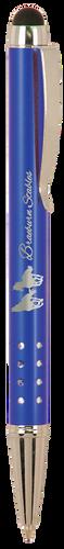 Gloss Blue Ballpoint Pen with Stylus & Silver Trim