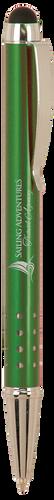 Gloss Green Ballpoint Pen with Stylus & Silver Trim