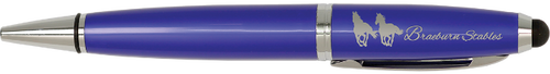Gloss Blue Wide Barrel Pen with Stylus & Silver Trim
