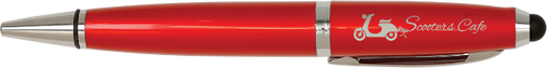 Gloss Red Wide Barrel Pen with Stylus & Silver Trim