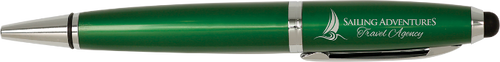 Gloss Green Wide Barrel Pen with Stylus & Silver Trim