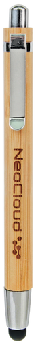 Genuine Bamboo Ballpoint Pen with Stylus Tip & Silver Trim