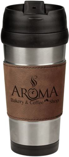 Stainless Steel Travel Mug with Dark Brown Leatherette Grip