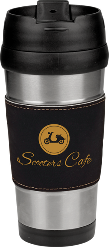 Stainless Steel Travel Mug with Black Leatherette Grip