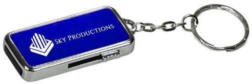 GB Blue Metal USB Flash Drive Keychain