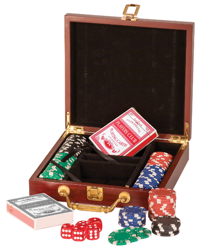 Rosewood Finish Poker Gift Set with 100 Chips 2 Decks of Cards & 5 Dice