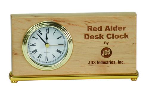 Genuine Red Alder Horizontal Desk Clock