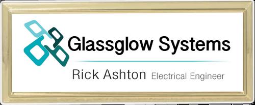 Gold Rectangle Name Badge Frame