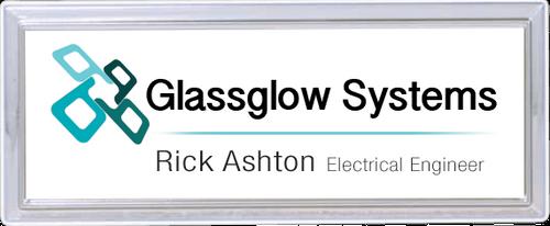 Silver Rectangle Name Badge Frame