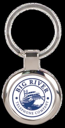 Silver Metal Round Keychain