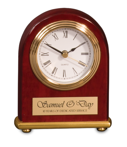 Rosewood Piano Finish Arch Desk Clock