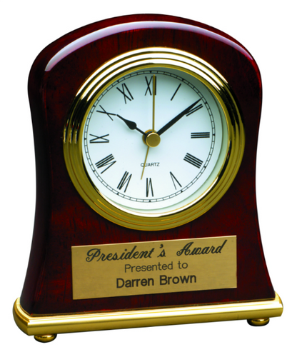 Rosewood Piano Finish Bell Shaped Desk Clock