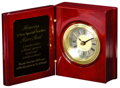 Rosweood Piano Finish Book Clock with Black to Gold Plate