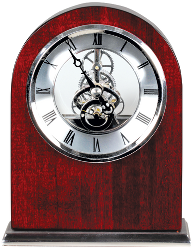 Rosewood Piano Finish Arch Clock with Silver Trim