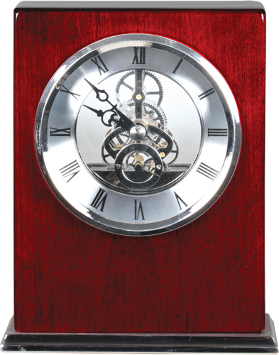 Rosewood Piano Finish Square Clock with Silver Trim