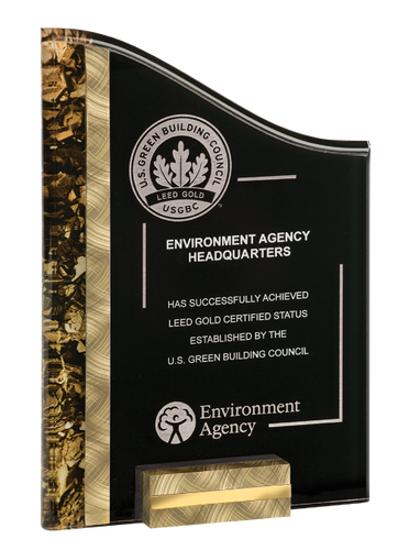 Gold & Black SunRay Acrylic Award with Base