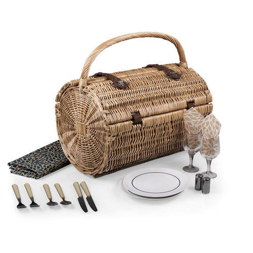 The exquisitely handcrafted Barrel picnic basket was designed with elegance and romance in mind. The Barrel is a barrel-shaped, two-lid willow basket with deluxe service for two that features durable pine green polyester lining. It includes: 2 plates (porcelain, 8″, napkins (100% cotton, 14″ x 14″, 2 hand-blown wine glasses (7 oz.), 1 tablecloth (100% cotton, 44″ x 44″,  2 (18/0) stainless steel forks, knives, and spoons, 1 set of salt and pepper shakers (frosted glass), and 1 stainless steel waiter-style corkscrew. Experience the finer moments in life with the Barrel picnic basket.