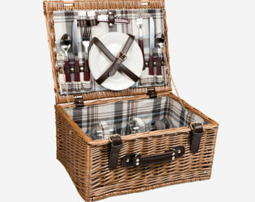 Enjoy life's finer moments with this suitcase-style picnic basket that features utensils and plates for two with plenty of room to spare. The willow basket also proudly includes a cotton interior, a hinged design with closure straps, and plates, flatware, and glasses for two.