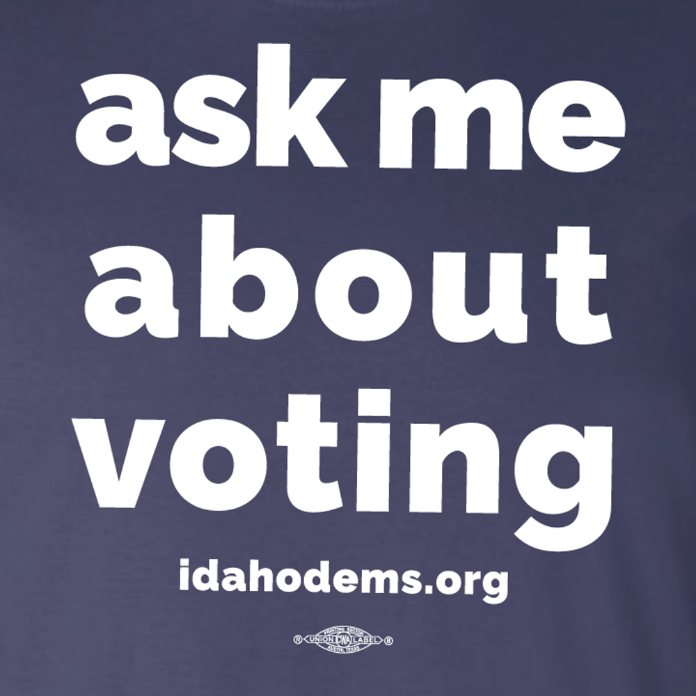 """Ask Me About Voting"" logo graphic on (Navy Tee)"