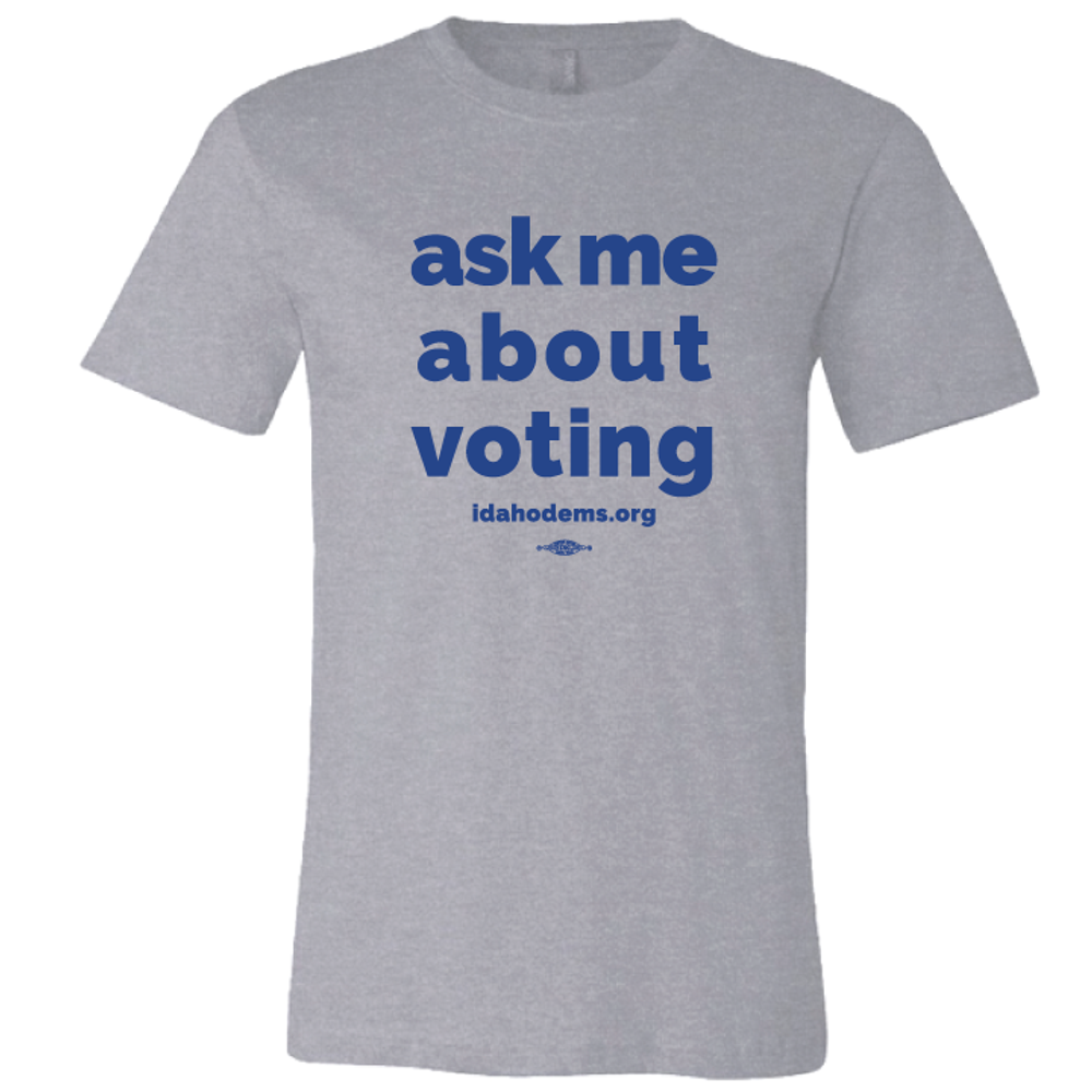 """""""Ask Me About Voting"""" logo graphic on (Athletic Heather Tee)"""
