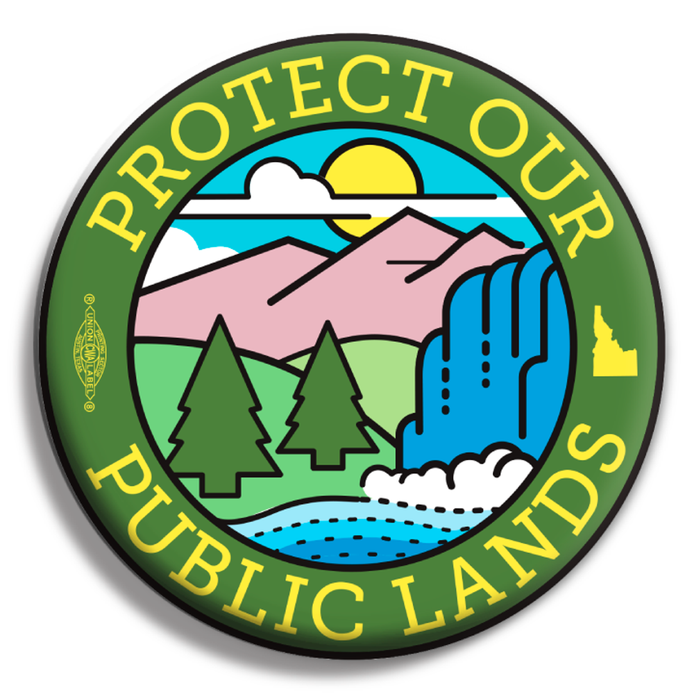"""""""Protect Our Public Lands"""" logo graphic (2.25"""" Mylar Button -- Pack Of Two!)"""