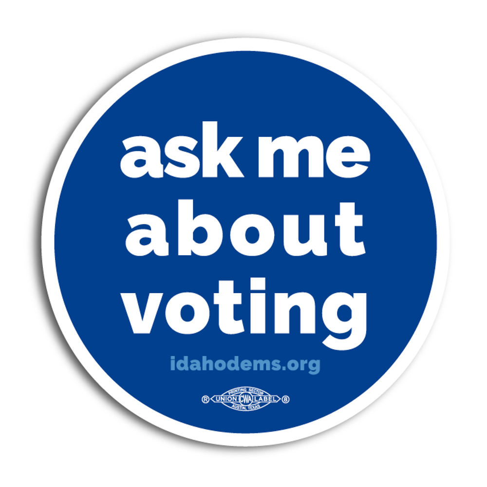 """Ask Me About Voting"" logo graphic (4"" Vinyl Sticker -- Pack of Two!)"