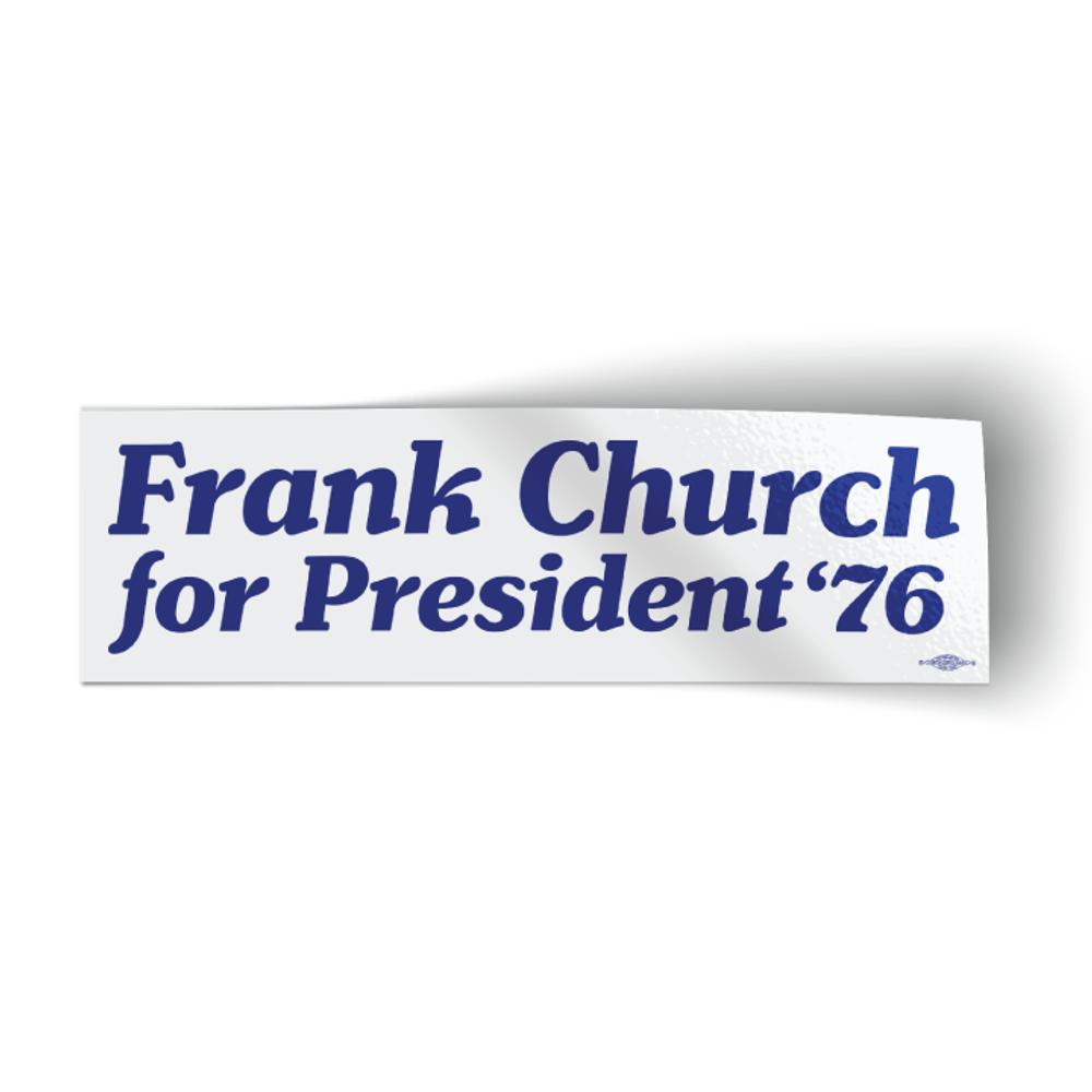 "Frank Church For President '76 - White (10"" x 3"" Bumper Sticker)"