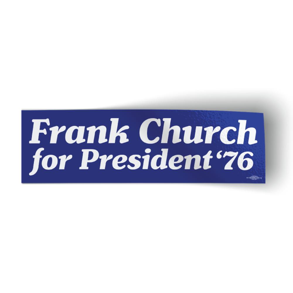 "Frank Church For President '76 - Blue (10"" x 3"" Bumper Sticker)"