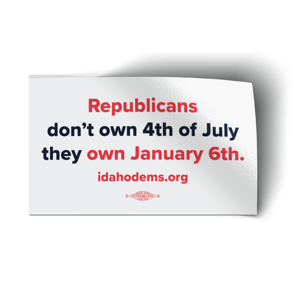 """Republicans Own January 6th - White Colorway (5"""" x 3"""" Vinyl Sticker -- Pack of Two!)"""