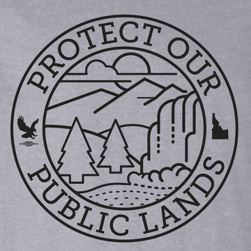 """Protect Our Public Lands"" logo graphic on (Athletic Heather Tee)"