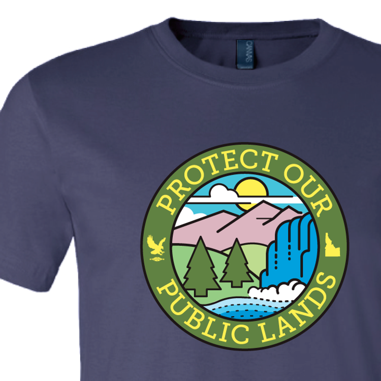 """Protect Our Public Lands"" logo graphic on (Navy Tee)"