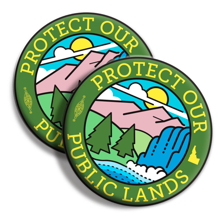 """Protect Our Public Lands"" logo graphic (2.25"" Mylar Button -- Pack Of Two!)"