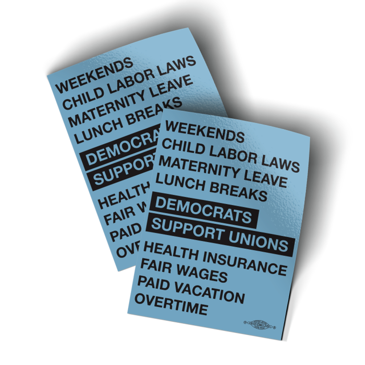 """Democrats Support Unions - Blue (3"""" x 4"""" Vinyl Sticker -- Pack of Two!)"""