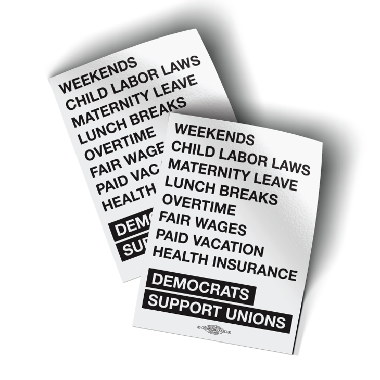 """Democrats Support Unions - White (3"""" x 4"""" Vinyl Sticker -- Pack of Two!)"""