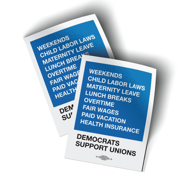 """Democrats Support Unions - Blue Box (3"""" x 4"""" Vinyl Sticker -- Pack of Two!)"""