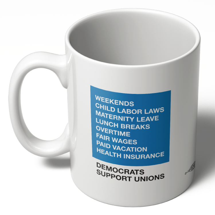 Democrats Support Unions - Blue Box (11oz. Coffee Mug)