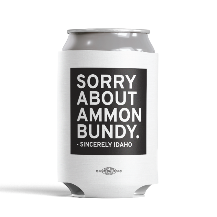 Sorry About Ammon Bundy (White Foam Can Cooler)