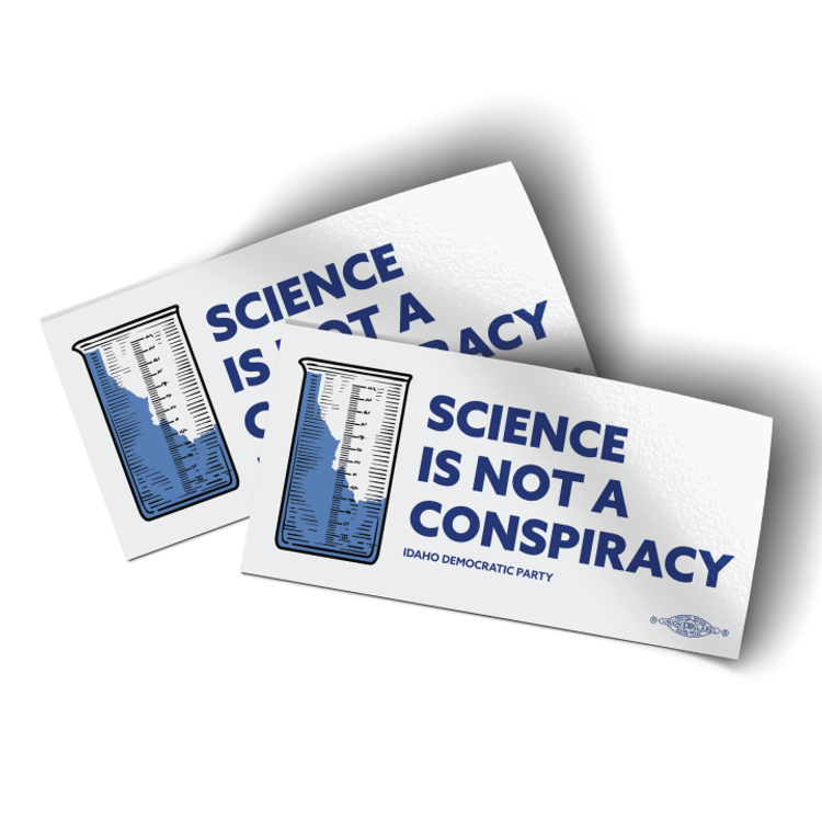 """Science Is Not A Conspiracy - Beaker (4"""" x 2"""" Vinyl Sticker -- Pack of Two!)"""