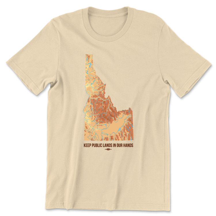 Keep Public Lands In Our Hands - State Map (Unisex Champagne Tee)