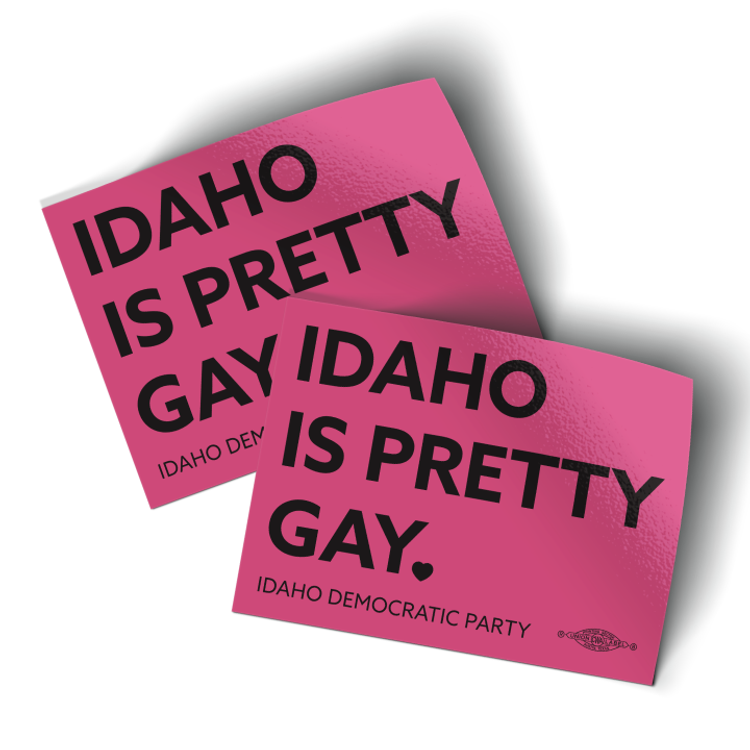 """Idaho Is Pretty Gay - Pink (4"""" x 3"""" Vinyl Sticker -- Pack of Two!)"""