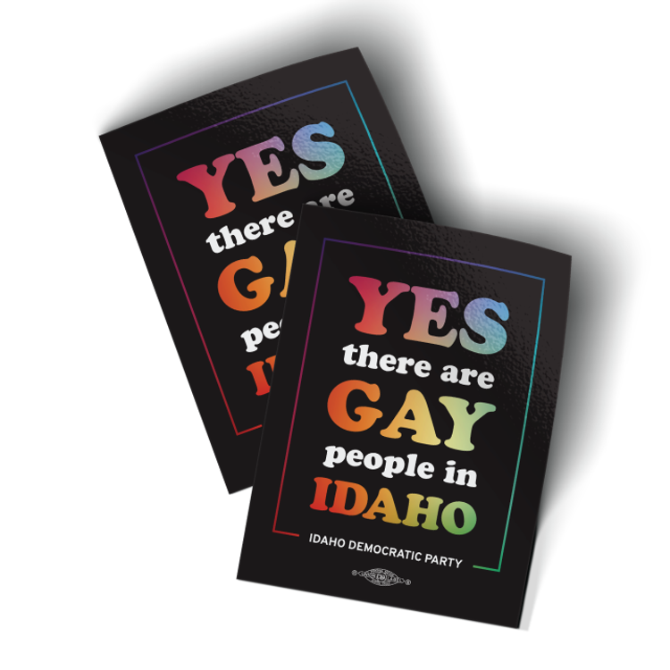 """Yes There Are Gay People In Idaho - Logo (3"""" x 4"""" Vinyl Sticker -- Pack of Two!)"""
