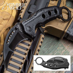 Timber Wolf Assisted Opening Black Karambit W/ Glass Breaker (TW529)