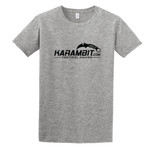 Karambit.com Softstyle® T-Shirt, Color: Sport Grey, front of shirt w/ Karambit.com black logo. (KbitlogoSoftstyleTee-SportGrey)