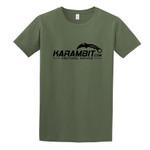 Karambit.com Softstyle® T-Shirt, Color: Military Green, front of shirt w/ Karambit.com black logo. (KbitlogoSoftstyleTee-MilGrn)