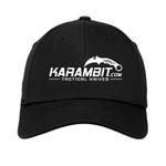 Karambit.com New Era® - Structured Stretch Cotton Hat - Black - front view. (KbitHat-BLK)