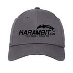 Karambit.com New Era® - Structured Stretch Cotton Hat - Graphite - front view. (KbitHat-GRAPHITE)