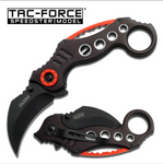 Tac Force Liner Lock Assisted Openning Black and Red Combat Karambit (TF578BK)